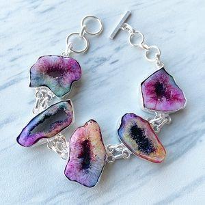 Silverskylight Jewelry - 925 Sterling silver rainbow solar quartz bracelet